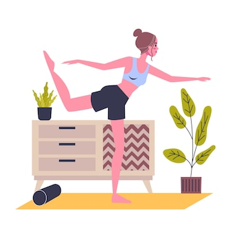 Mulher em pé na pose de ioga. exercícios de alongamento para saúde e relaxamento do corpo. ilustração em estilo cartoon