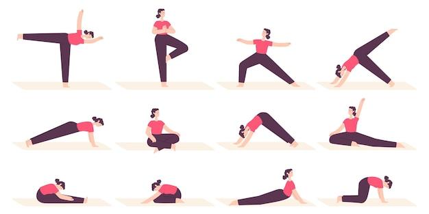 Mulher em poses de ioga. personagem de desenho animado feminino faz exercícios de alongamento de fitness, pilates e relaxa na posição asana. conjunto de vetores de estilo de vida de saúde. ilustração de senhora feminina ioga, exercício e meditação