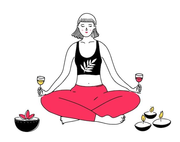 Mulher em posição de lótus de ioga segurando taças de vinho com as duas mãos ilustração engraçada de equilíbrio