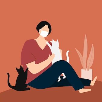 Mulher em quarentena brincando com seus gatos