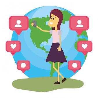 Mulher em redes sociais