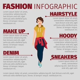 Mulher em roupas esportivas moda modelo infográfico