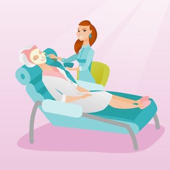 Mulher, em, salão beleza, durante, cosmetologia, procedimento