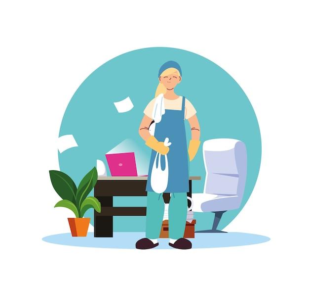 Mulher em serviço de limpeza de escritório desing