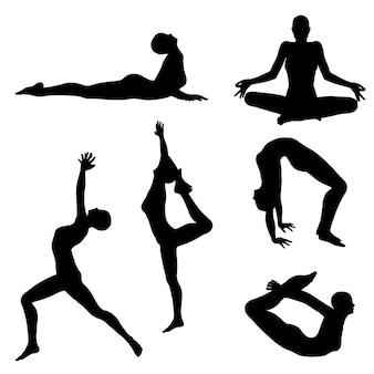 Mulher em silhuetas de pose de ioga