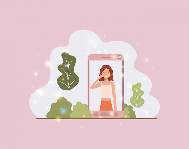 Mulher em smartphone na paisagem