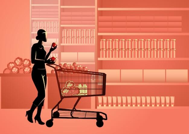 Mulher, em, supermercado, com, shopping, trole