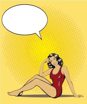 Mulher, em, swimsuit, ligado, um, praia