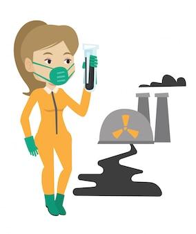 Mulher em traje de proteção de radiação com tubo de ensaio.