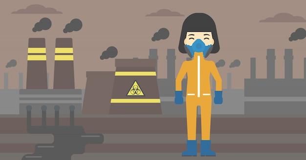 Mulher em traje de proteção de radiação.