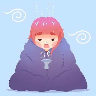 Mulher em um cobertor, tendo um resfriado