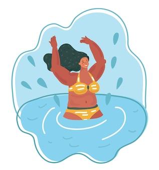 Mulher em um maiô listrado nadando