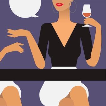 Mulher, em, um, partido, ilustração