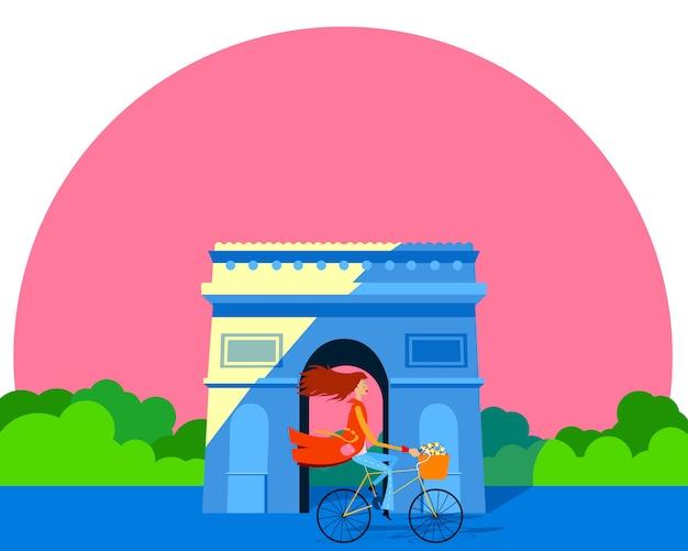 Mulher em uma bicicleta em frente ao arco do triunfo. cartão para o dia das mulheres
