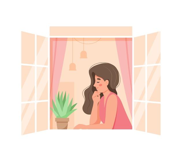 Mulher em uma janela aberta em casa relaxando. ilustração em vetor fofa e aconchegante