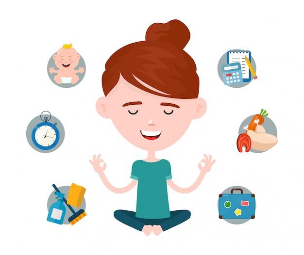 Mulher em uma pose de ioga de lótus relaxa rodeado por problemas domésticos e de trabalho.