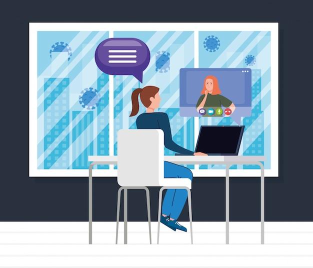 Mulher em videoconferência com o colega durante o projeto de ilustração covid 19