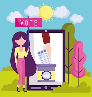Mulher em votação online