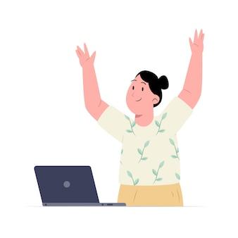 Mulher empolgada com laptop