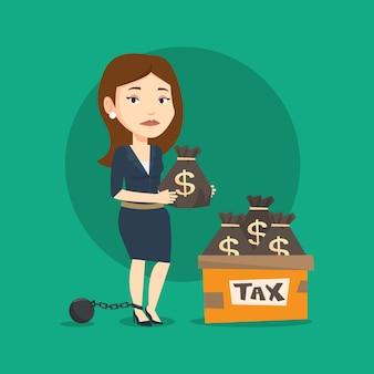 Mulher encadeada com sacos cheios de impostos.