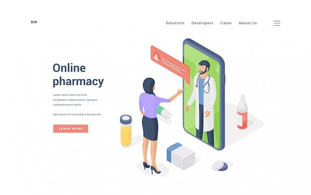 Mulher encomendar medicamentos on-line no smartphone. ilustração