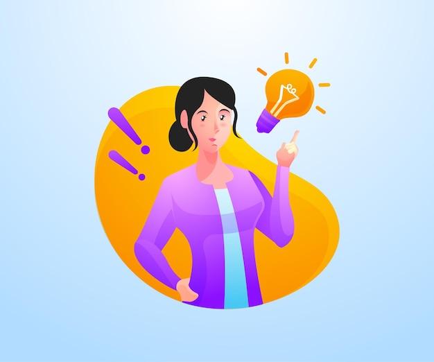 Mulher encontra a solução de problemas com a ideia criativa e o ícone de lâmpada