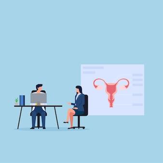 Mulher encontra o médico sobre consulta de ginecologia.