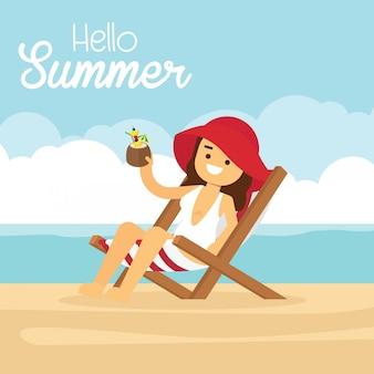 Mulher encontra-se numa espreguiçadeira em uma praia arenosa, bebe um coquetel e relaxa
