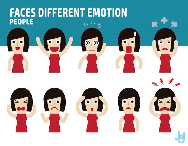 Mulher enfrenta apresentando emoções diferentes.