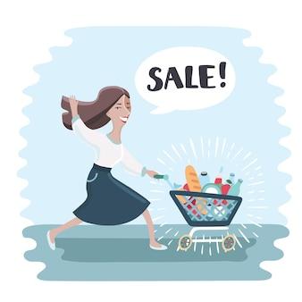 Mulher engraçada correndo e empurrando o carrinho de compras cheio de compras.