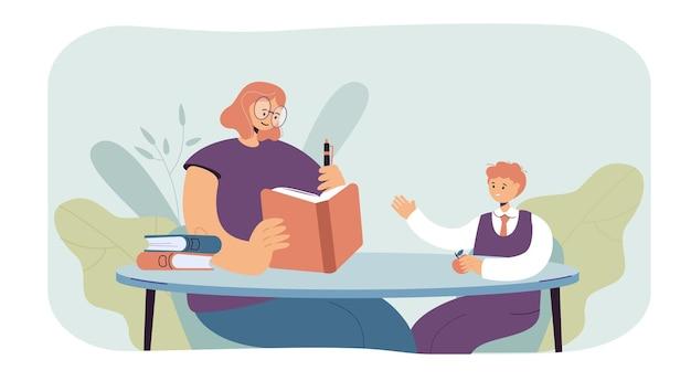 Mulher ensinando ilustração a menino