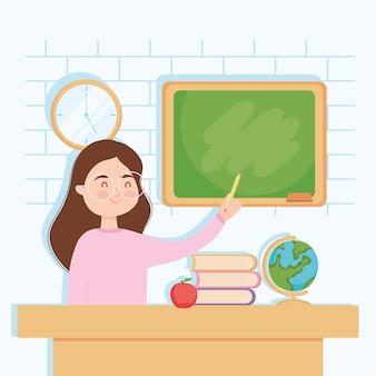 Mulher ensinando na carteira da escola