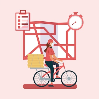 Mulher entrega com máscara bicicleta mapa e caixas de design