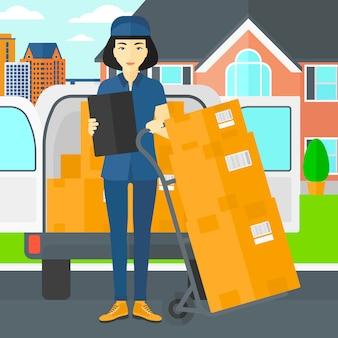 Mulher, entregando caixas