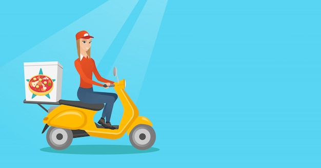 Mulher entregando pizza na scooter.