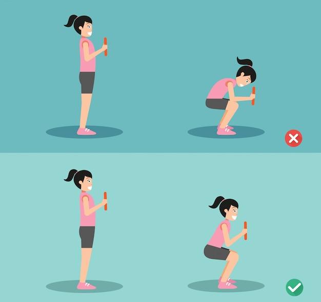 Mulher errada e postura de agachamento