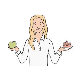 Mulher escolhe entre maçã verde e bolo
