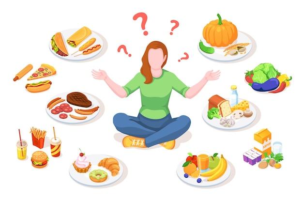 Mulher escolhendo comida saudável e junk food.