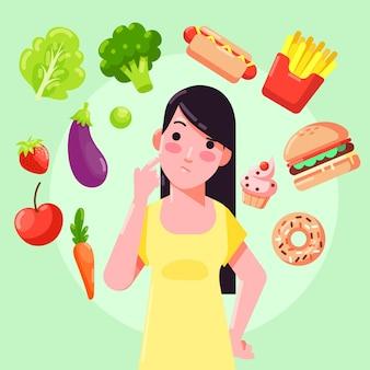 Mulher escolhendo entre alimentos e não-íntegros