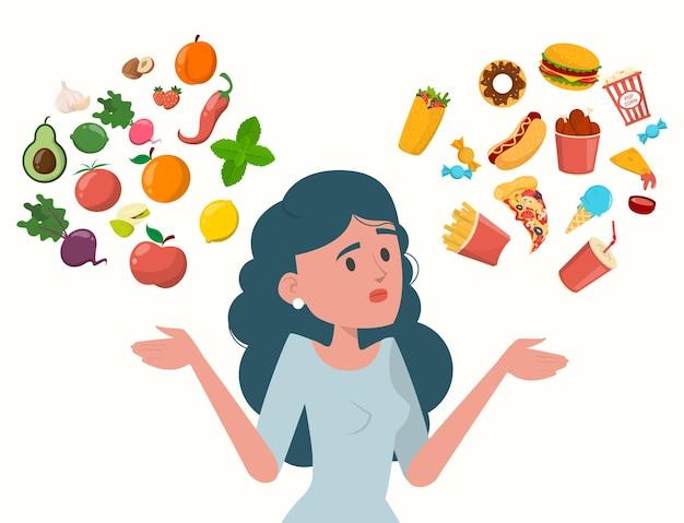Mulher escolhendo entre alimentos saudáveis e não saudáveis