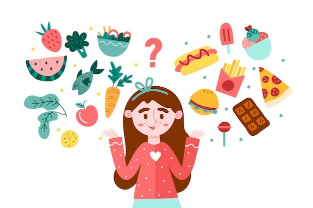 Mulher escolhendo entre alimentos saudáveis ou não saudáveis