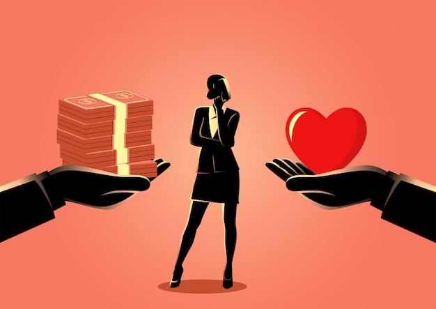 Mulher escolhendo entre amor ou dinheiro