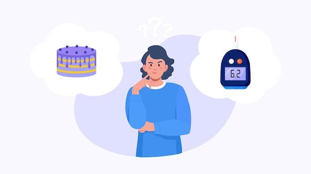 Mulher escolhendo entre bolo e nível normal de glicose no sangue. menina pensando em doces e no glicosímetro. escolha entre diabetes e saúde