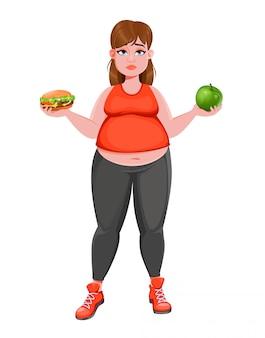 Mulher escolhendo entre maçã e hambúrguer