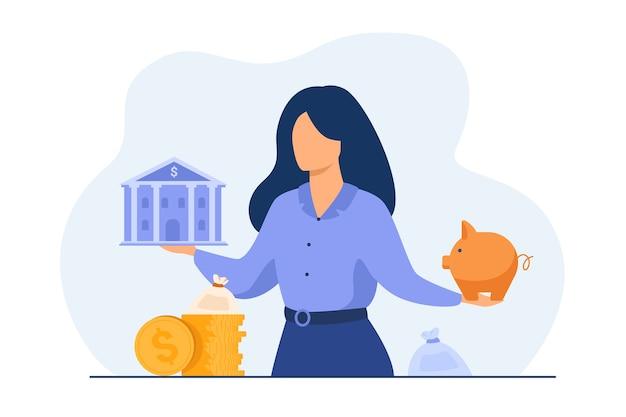 Mulher escolhendo entre o banco e o cofrinho, escolhendo o instrumento para economizar, planejando o orçamento ou o empréstimo.