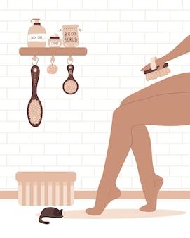 Mulher escovando as pernas com uma escova seca de cacto