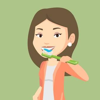 Mulher escovando os dentes ilustração em vetor.