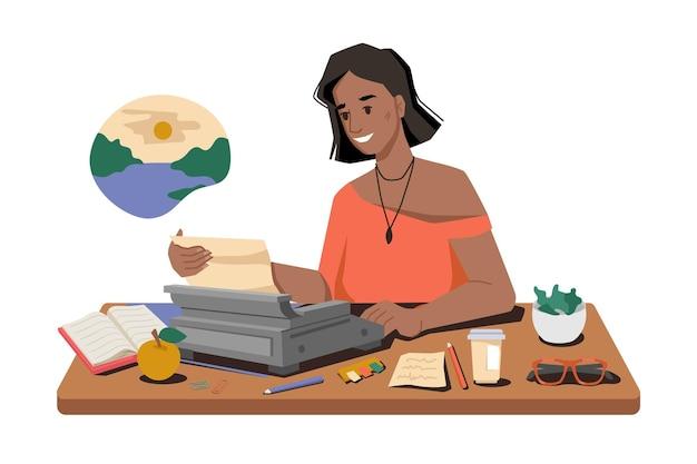 Mulher escreve uma história em uma máquina de escrever no local de trabalho ou jornalista, escrevendo um artigo ou postando uma xícara de chá