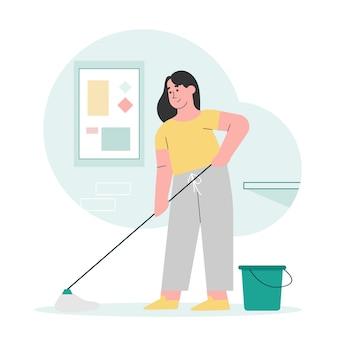 Mulher esfregar o chão da casa Vetor Premium