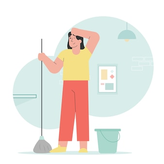 Mulher esfregar o chão da casa